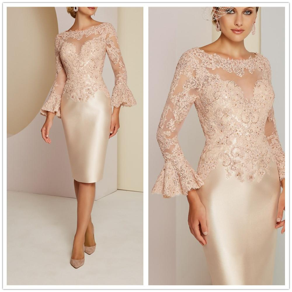Vestidos De Novias Elegant Illustion Long Sleeves Appliques Sequins Beading Sheath Knee-Length Short Mother Of The Bride Dresses