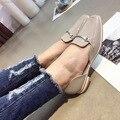2016 Recién Llegado de Blanco Gris Casual Zapatos Planos Orsay D' Pisos Zapatos de Mujer 2016