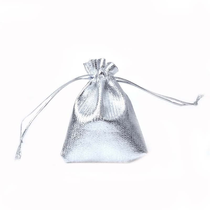 Купить с кэшбэком 100pcs Silver Color Gold Color Metallic Foil Organza Pouches Christmas Wedding Party Favour Gifts Candy Bags 5x7cm 7x9cm