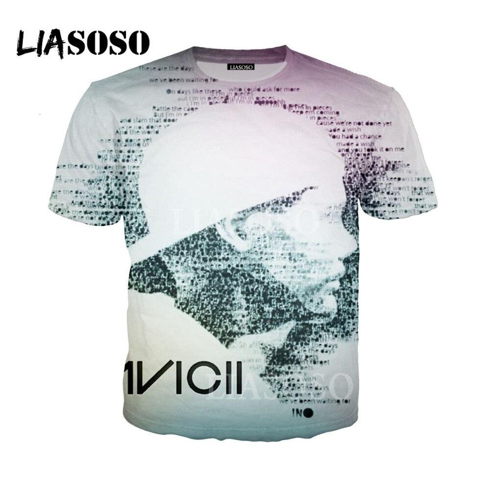 LIASOSO Men Women Print Music Dj Avicii T Shirt Short Sleeves O Neck Summer Casual Wake Me Up Unisex T-shirt casual t shirt li3