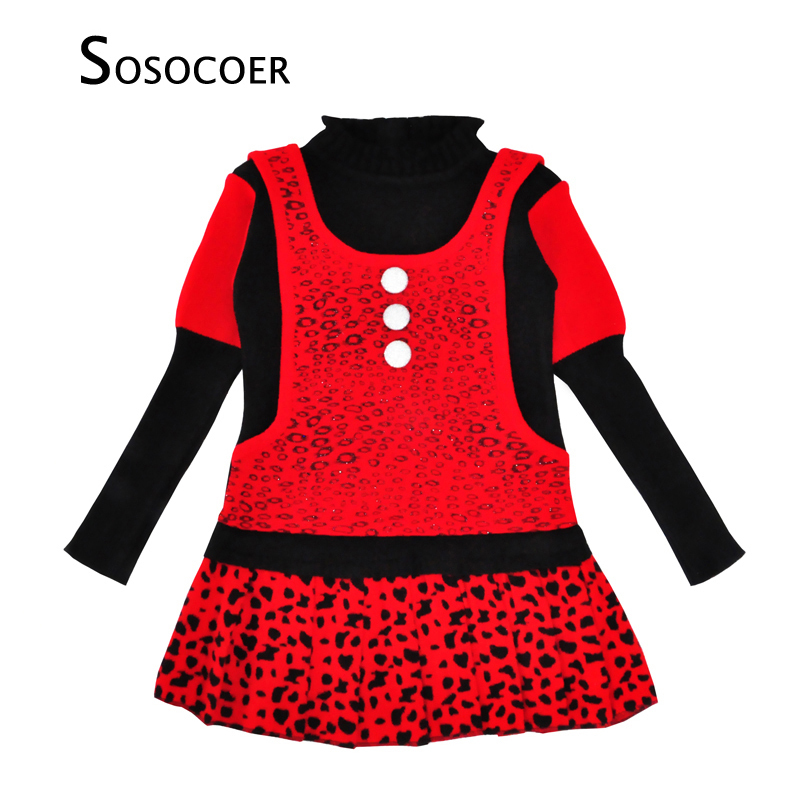 SOSOCOER Winter Girl Dress Christmas Kids Clothes Cute Knitted Warm Children Dresses Leopard Long Sleeve Dress Girls Clothing baby girls knitted sweater clothing dress 2017 autumn winter new long sleeve cute cartoon pattern girl dress children clothes