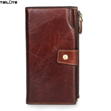 TAILUTE Luxury Genuine Leather Business Wallet Men Zipper Coin Pocket Long Men Purse Card Holder Male Wallet