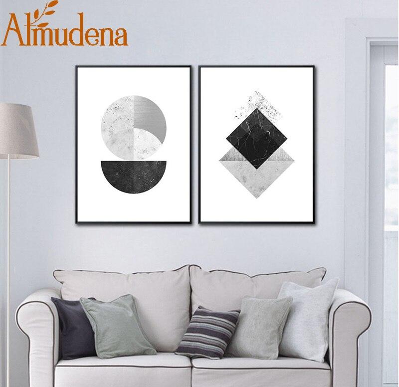 Living, Room, White, Canvas, Geometric, Modern