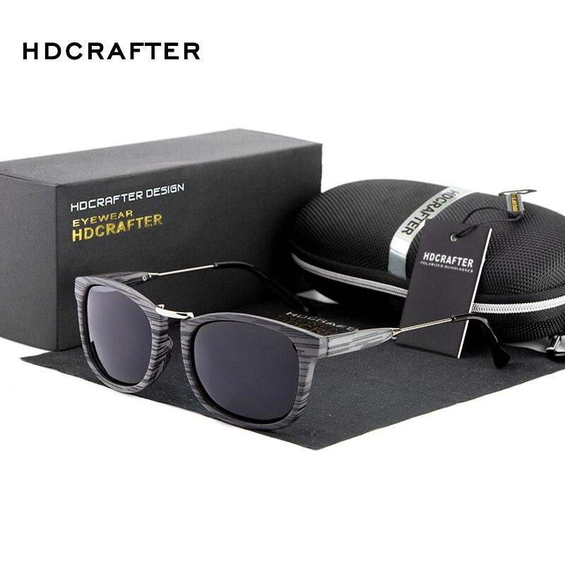 HDCRAFTER Retro men polarized sunglasses wood grain Driving mirror outdoor sports Sunglasses oculos de sol