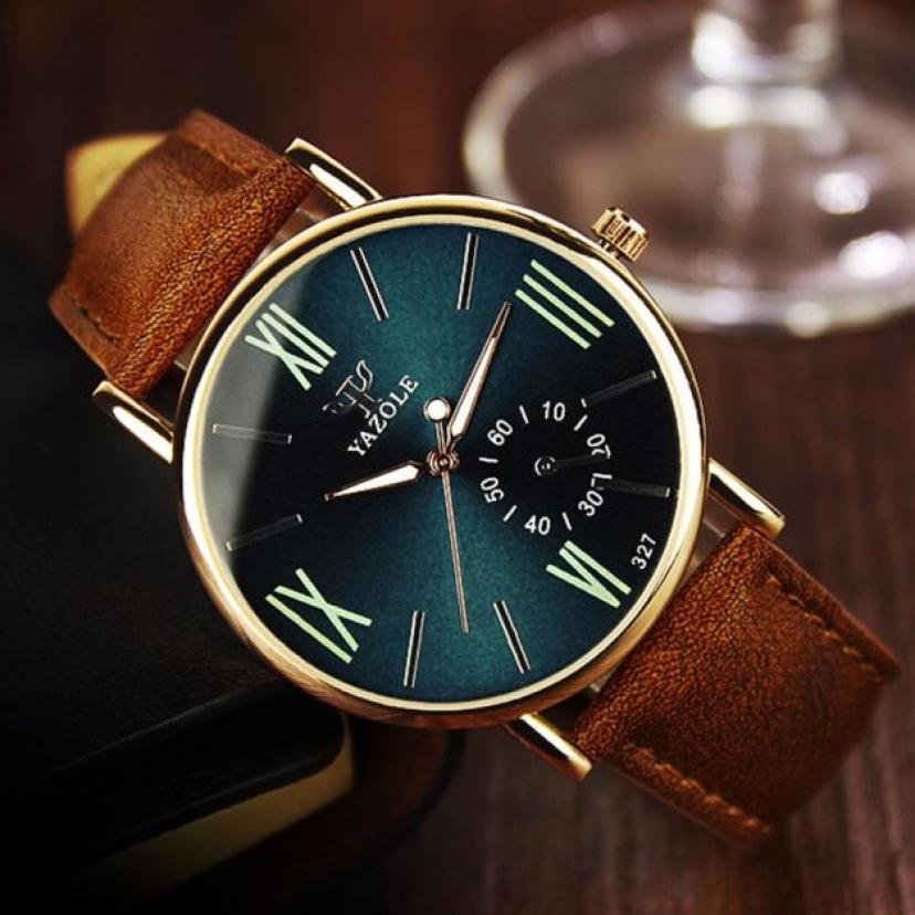Bild von #5001 Leisure Fashion Man Watch Luxury Fashion Leather Mens Glass Quartz Analog Wristwatch Noctilucent Watches