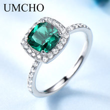 UMCHO Real 100% 925 Sterling Silver Jewelry Created Round Emerald Birthstone Rings For Women May Birthday Gift Fine