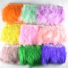 2Yards/lot Natural Fluffy Marabou Feather Trims Fringe 6-8inch Turkey Feathers for Crafts Ribbon Boa Wedding Decoration Plumes цена