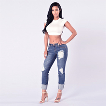 New Woman Stretchy Denim Pants Trousers Ripped Distressed Skinny Pencil Jeans For Women Pantalon Femme