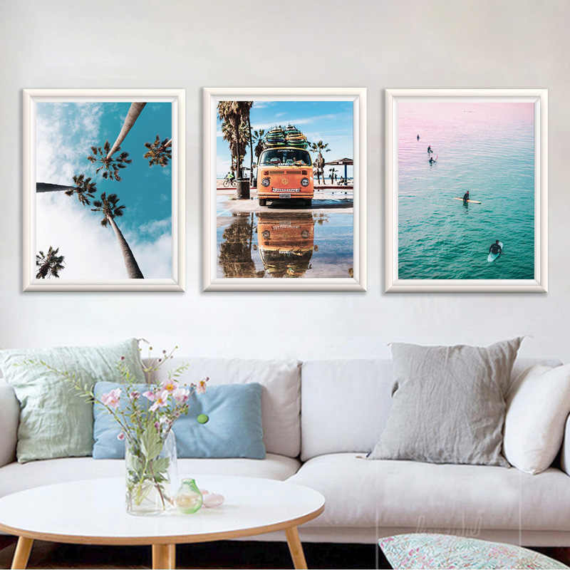 Scandinavian Style Ocean Beach Surf Art Posters and Prints Coastal Wall Canvas Painting for Living Room Nordic Decoration Home