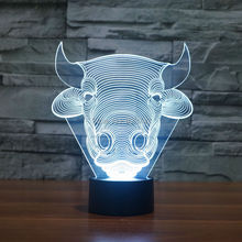 Free Ship Color changing Flashing Bulls Head Acrylic 3D Children LED Night Light touch sensitive OX Living Room USB Lamp