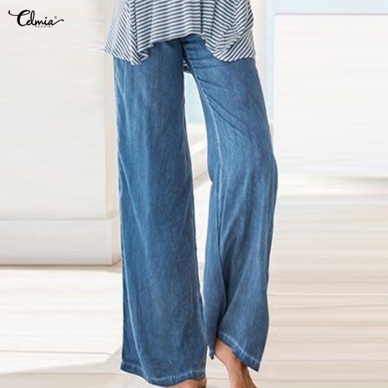5XL Celmia   Wide     Leg     Pants   Women Trousers High Waist Pockets Casual Pleated Denim Blue Jeans Harem   Pants   Plus Size Pantalon Femme