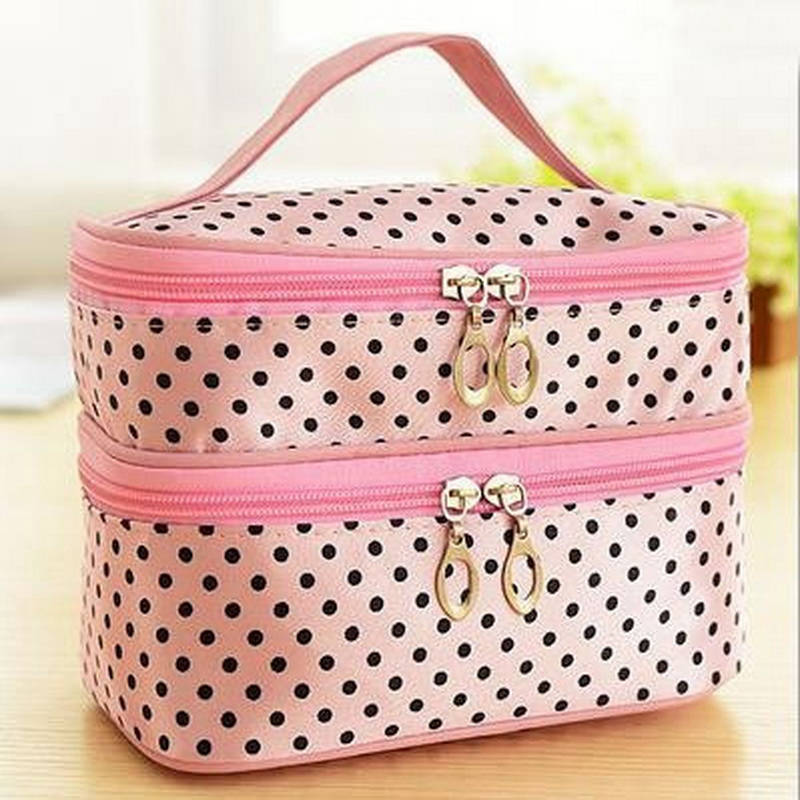 Image 4 - Multifunctional make up cosmetic bag travel organizer Zipper Bags Portable Double layer Dots Makeup Storage Case Toiletry Bags-in Storage Boxes & Bins from Home & Garden