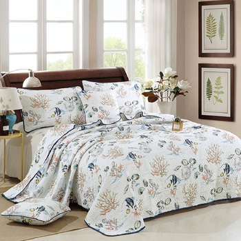 CHAUSUB Marine Printed Quilt Set 3PCS Quilted Bedspread Cotton Quilts Bed Cover Sheets King Size Coverlet Set Pillowcase Bedding