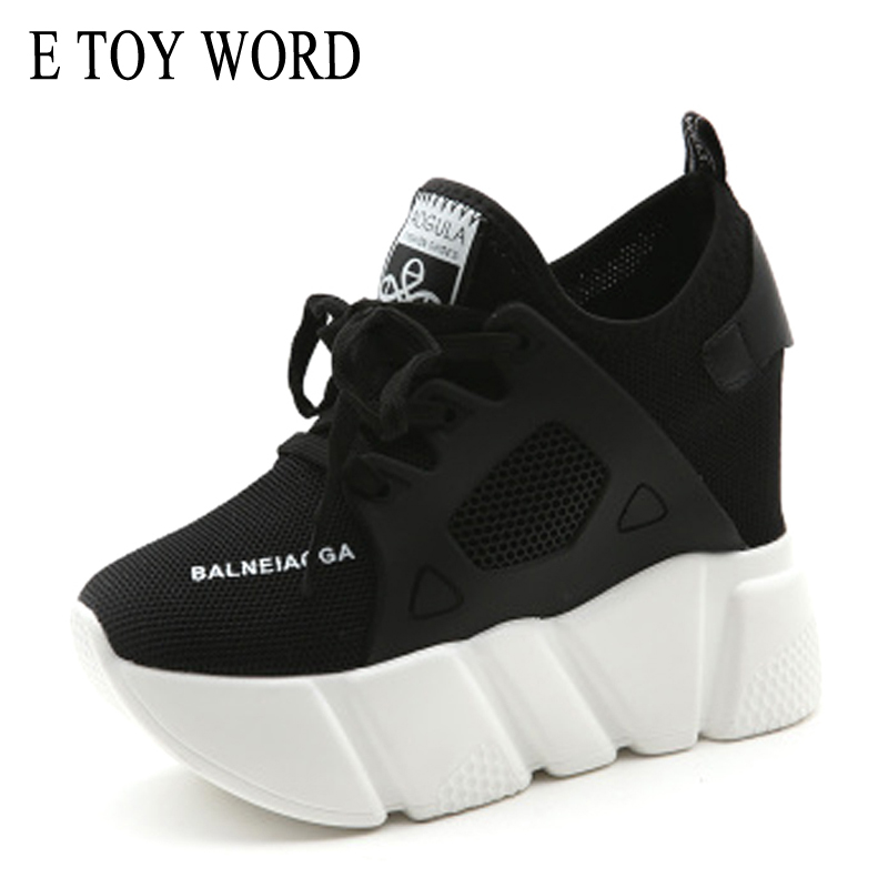 E TOY WORD Mesh Platform Sneakers New 2018 Woman Casual Shoes Fashion Wedges Women Inner Increased Sneakers zapatillas mujer цены онлайн