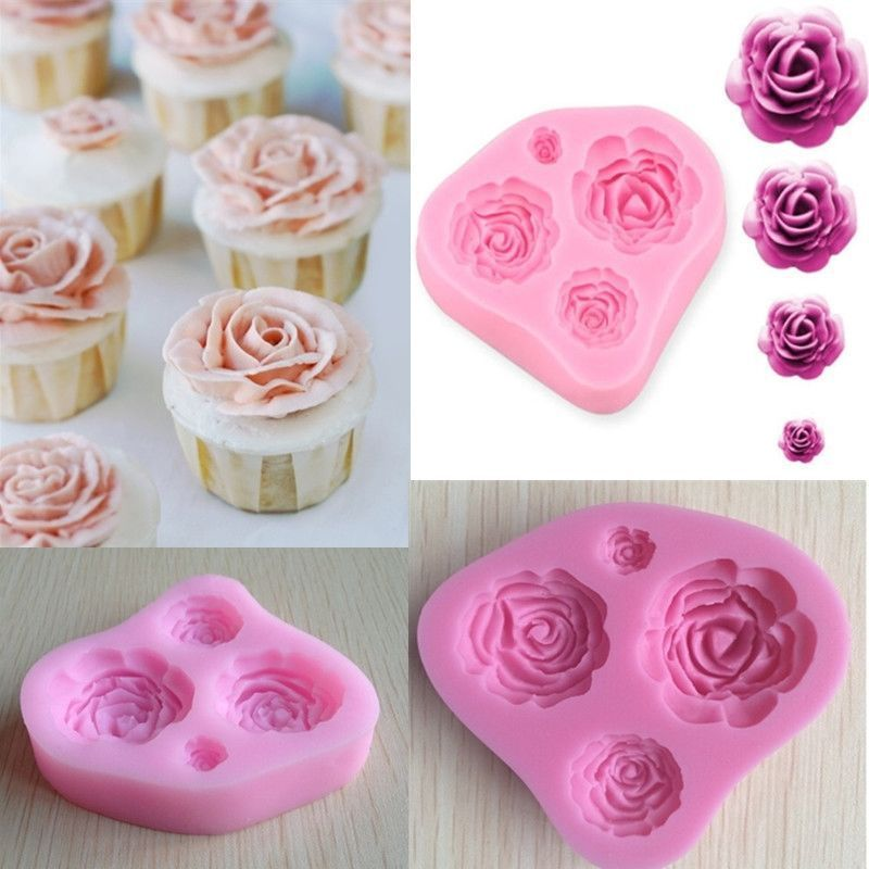 4 Sizes Silicone Rose Flower Mould Cake Decorating Making