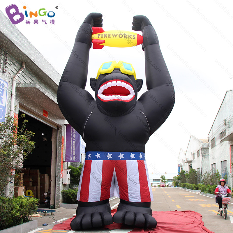Customized 7.6M high inflatable monkey for advertising blow up standing model for promotion toys