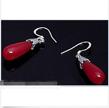 Charmant naturel rouge jade Crochet Larme Argent Dangle Earrings
