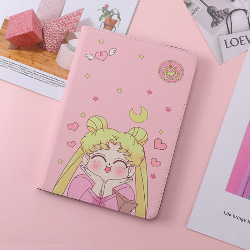 Sailor Moon Patterned Case For <font><b>ipad</b></font> <font><b>2017</b></font> 2018 Cover Fashion Leather Silicone Soft Back Cover For <font><b>ipad</b></font> <font><b>pro</b></font> <font><b>9.7</b></font> Air 1 Air 2 image