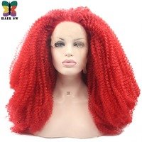 HIAR SW Long Afro Kinky Curly Synthetic Lace Front Wigs 180% Heavy Density Red Spiral Glueless Heat Resistant Fiber For Hallowee