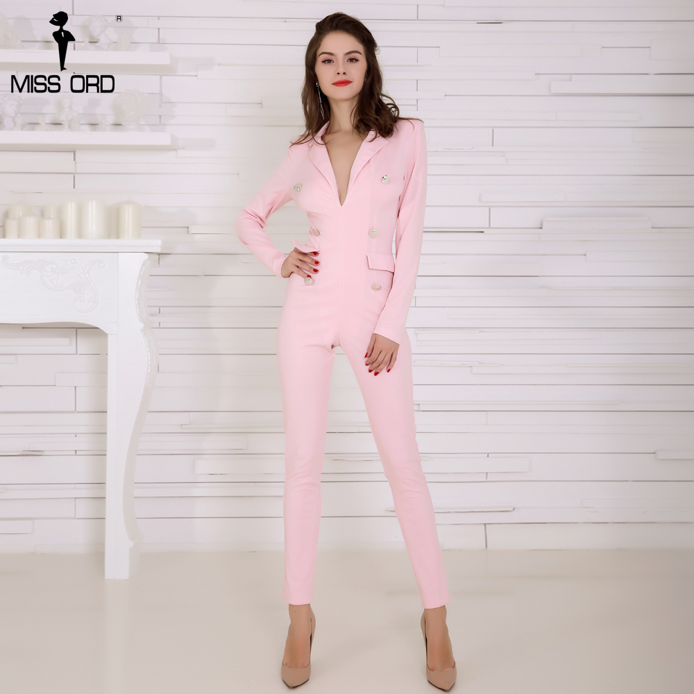 Missord 2019 Sexy Deep-V Long Sleeve Button Pink Color   Jumpsuit   FT4903