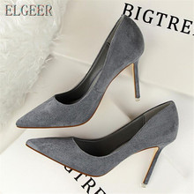 New women High-heeled shoes Fashion Simple High-heeled Shallow mouth Pointed suede Sexy Thin Professional women's shoes стоимость