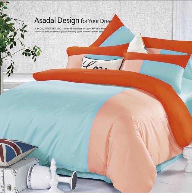 Casual modern Hit color cotton bedding set, home textile, bedspread, bed linen, duvet cover / pillowcase / bedsheet, bedroom set