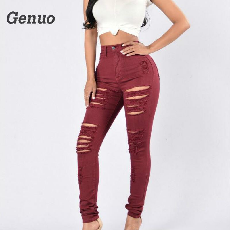 Genuo Women s Distressed red Mid High Waist Stretch Denim Pants Ripped Skinny Jeans Woman Curvy Jean pantalones de mujer in Jeans from Women 39 s Clothing