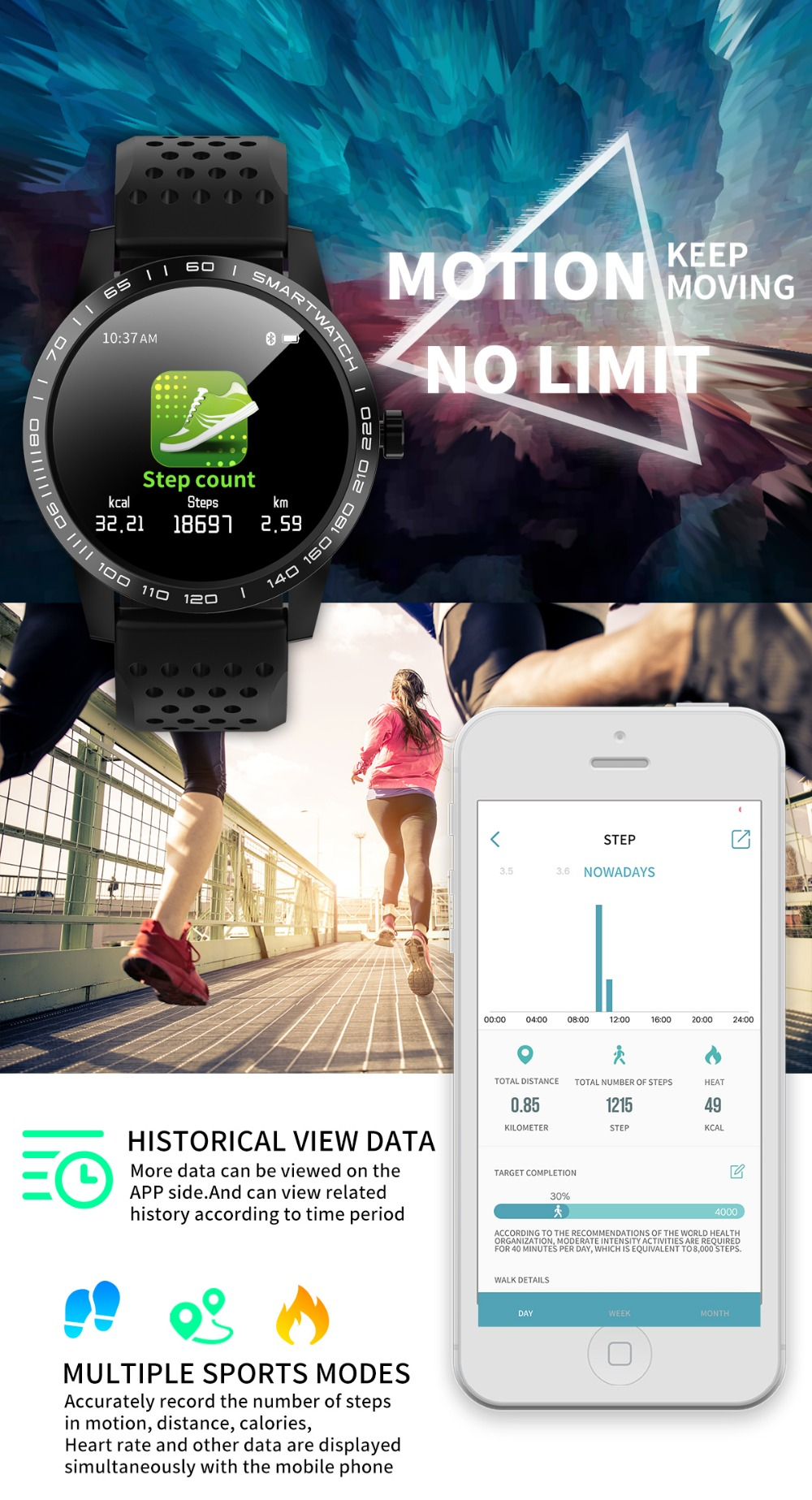 Wearpai T2 bluetooth smart watch men women Fashion Fitness Tracker Heart Rate monitor watches for android ios waterproof ip67 8