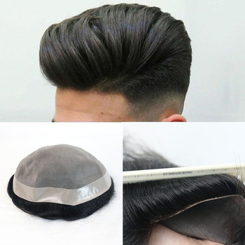 Man Mono Human Hair Toupee Replacement System Straight Durable Toupee European Remy Hair Wigs Ever Beauty