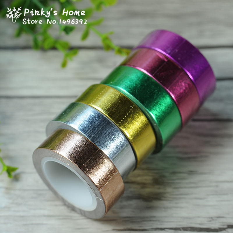 15mm*10m Gold Foil Washi Tape Silver/Gold/Bronze/Rose/Green Scrapbooking Decorative Masking Tape Paper Packing Tape Scotch Tape glitter gold silver foil printing washi tape christmas card washi decorative adhesive tape masking paper tape scrapbook gif