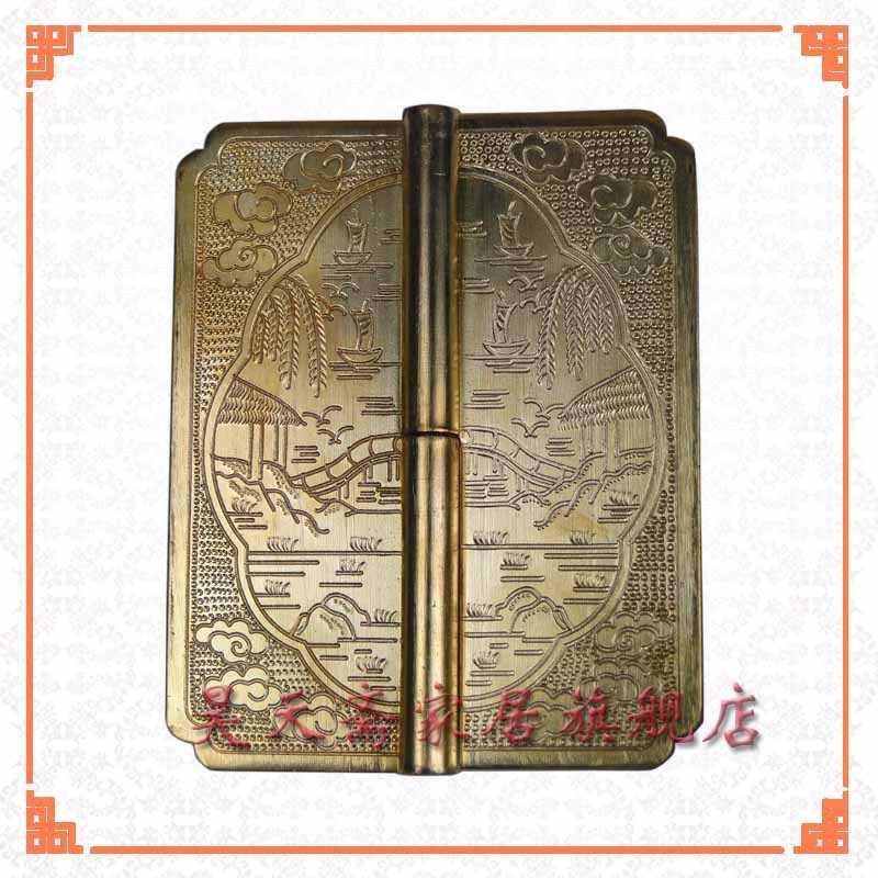 [Haotian vegetarian] copper top cabinet hinge hinge HTF-084 Chinese antique landscape section [haotian vegetarian] chinese antique door hinge copper hinge htf 108 paragraph three flowers