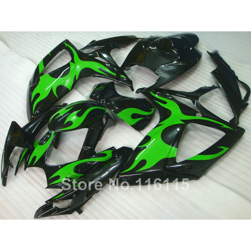 <font><b>fairing</b></font> <font><b>kit</b></font> fit for SUZUKI Injection mold <font><b>GSXR</b></font> <font><b>600</b></font> 750 K6 K7 2006 <font><b>2007</b></font> green flames black <font><b>fairings</b></font> set GSXR600 GSXR750 06 07 Q51 image