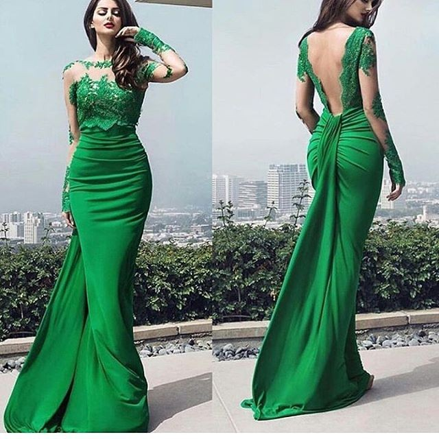 8ad23446f Hot Selling vestidos cortos de gala Green Long Sleeve Appliques Backless  Satin Formal Eveening Gown emerald green Prom Gown