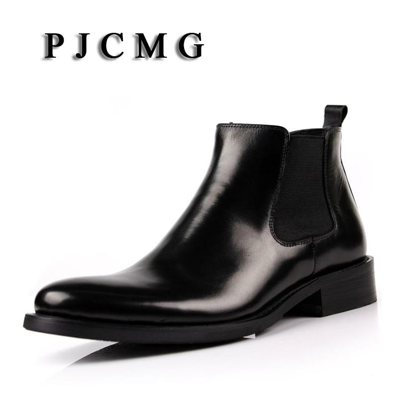 PJCMG جديد ربيع / الخريف الرجال جلد طبيعي الأحذية المدببة تو تنفس الثور أنماط أكسفورد اللباس أحذية للرجال أحذية