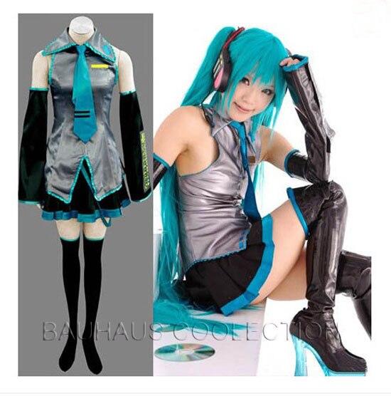 HEADPHONE Hot Sale!Vocaloid Hatsune Miku Cosplay Costume full SET WIG