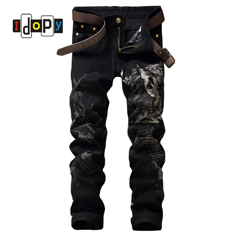 New 2016 Men`s Printed Black Jeans Punk Style Gothic Painted Cotton Straight Leg Cool Jeans For Young Men free shipping fca50cc50 new igbt module 50a 500v can directly buy or contact the seller