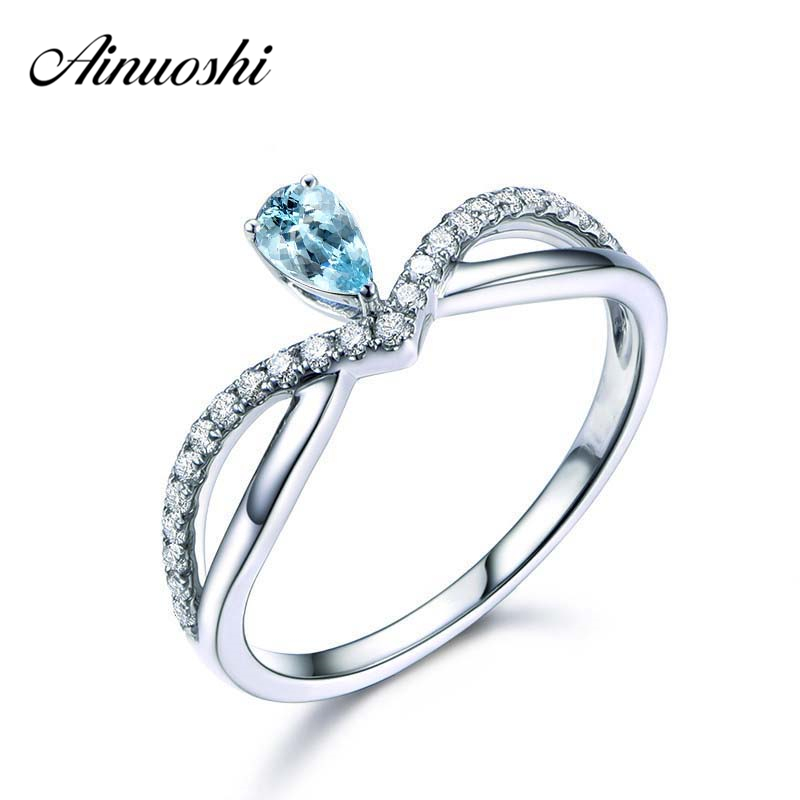 AINUOSHI 1 Carat Pear Cut Natural Topaz Heart Ring Pure 925 Silver Sky Blue Gemstone Crown
