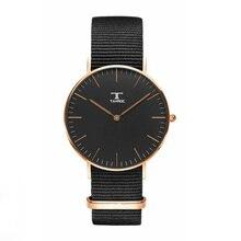 2017 Для мужчин Для женщин Роскошные Повседневное Аналоговые кварцевые наручные часы черный нейлоновый ремешок простые модные часы Relogio feminino