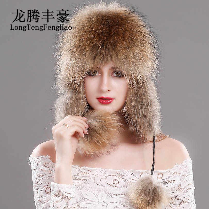 4f3379b4f0d6b Русский меха лисы шапка трикотажная шапка зимняя натуральным лисьим мехом  шапка меховые шапки-бомберы женщин