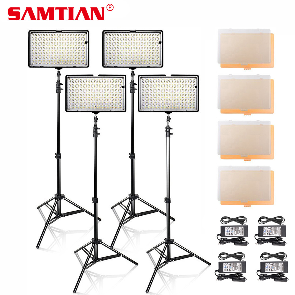 SAMTIAN 4 in 1 Professional 3200K/5600K 240 LED Video Photo Studio Light Panel Kit With Tripod Stand For Video Shooting 4 in 1 video light studio lighting kit high power panel digital camera dslr camcorder led light video with 4 light stand