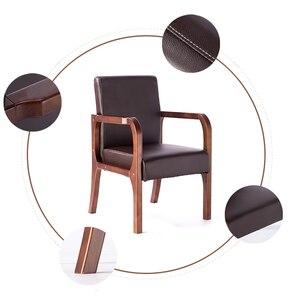 Image 4 - Luxe 100% hout moderne Vrijetijdsbesteding stoel met fauteuil hout eetkamerstoel Nordic retro sofa PU Lederen sofa Woonkamer Meubels