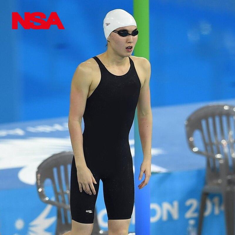 2018 ÚJ! NSA fekete egyrészes verseny vízálló klór ellenállás Fürdőruha Professzionális fürdőruha Térd úszni