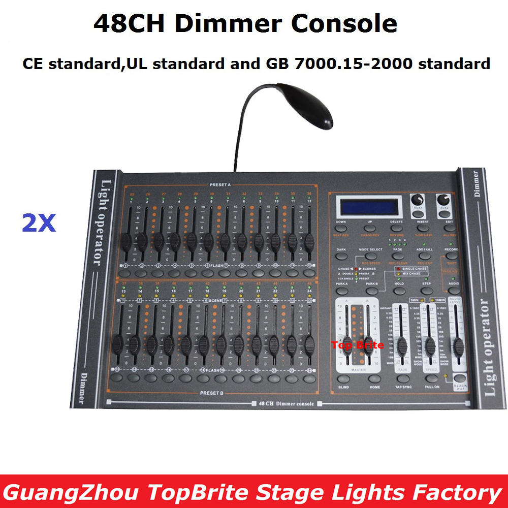 2Pcs/Lot Free Shipping NEW 48CH Dimmer Console Stage Lighting DJ Disco Equipments DMX Controller For Party Wedding Nightclubs dhl free shipping 54ch mini dmx controller console dj console dj controller dj lighting controller 9v battery 12v dc powered