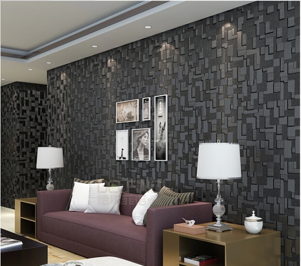 Black 3d Wallpaper High Quality Mosaic Modern Living Room Sofa TV Backdrop  Wallpaper Bedroom Non