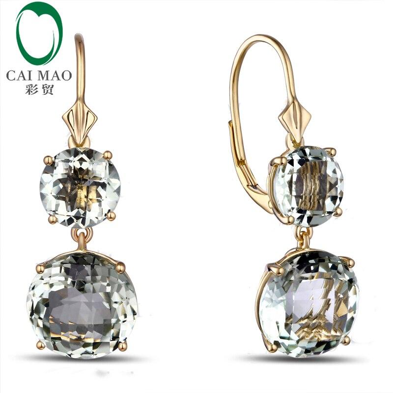 Caimao joyería romántica 14 K oro y 12.85ct amatista pendientes de compromiso