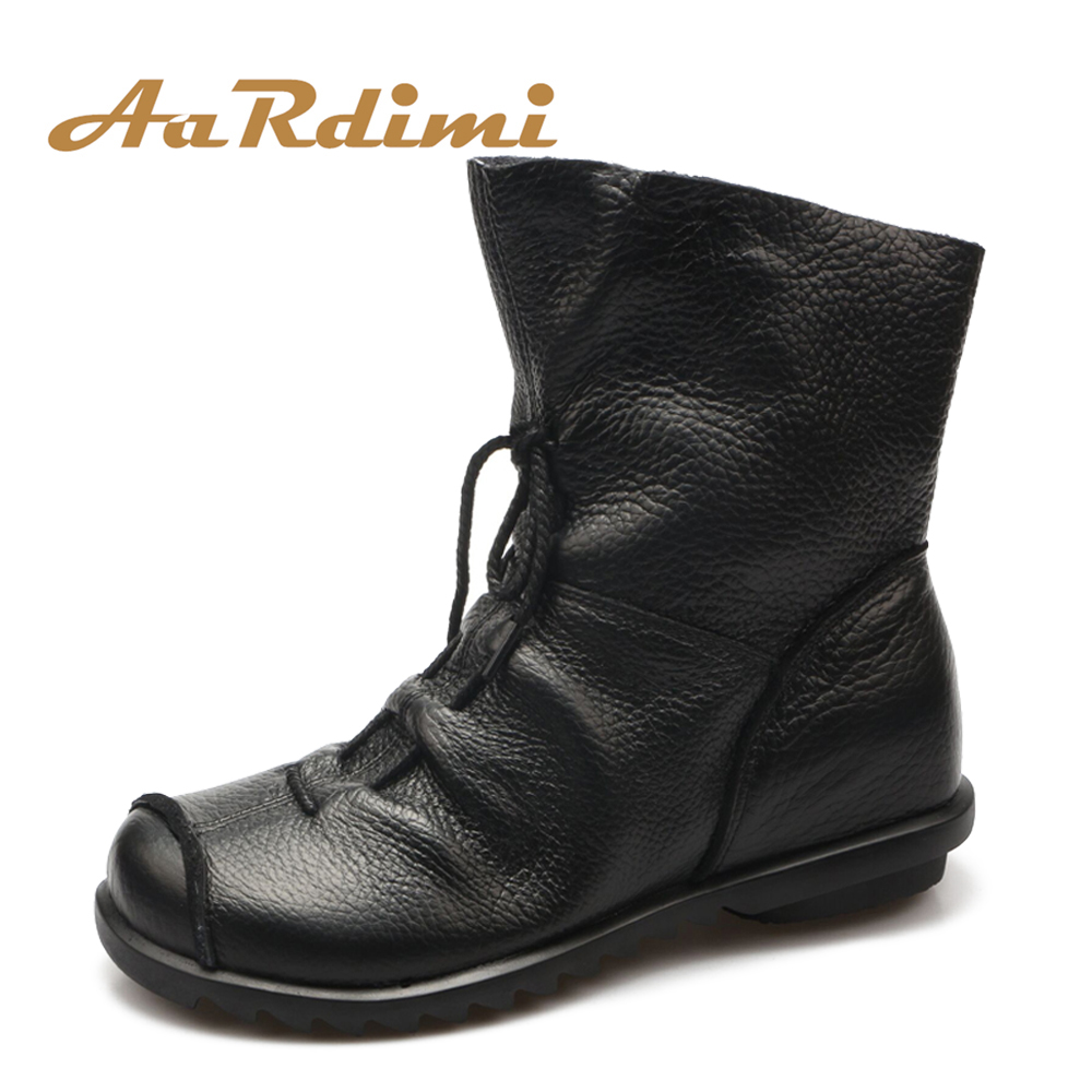 Top Quality Handmade Women Shoes Genuine Leather Women Boots Martins Spring&Autumn Vintage Ankle Boots Flat Bootie Botas Mujer hot sale mens italian style flat shoes genuine leather handmade men casual flats top quality oxford shoes men leather shoes