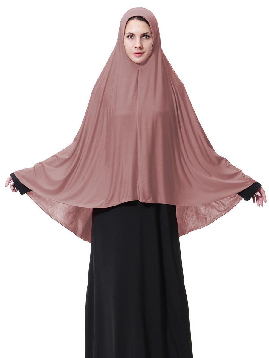 Muslim Hijab Scarf Large Khimar Women Solid Headwear Islamic Niqab Headscarf Shawl Wrap Middle East Hijabs Cap Overhead Clothing