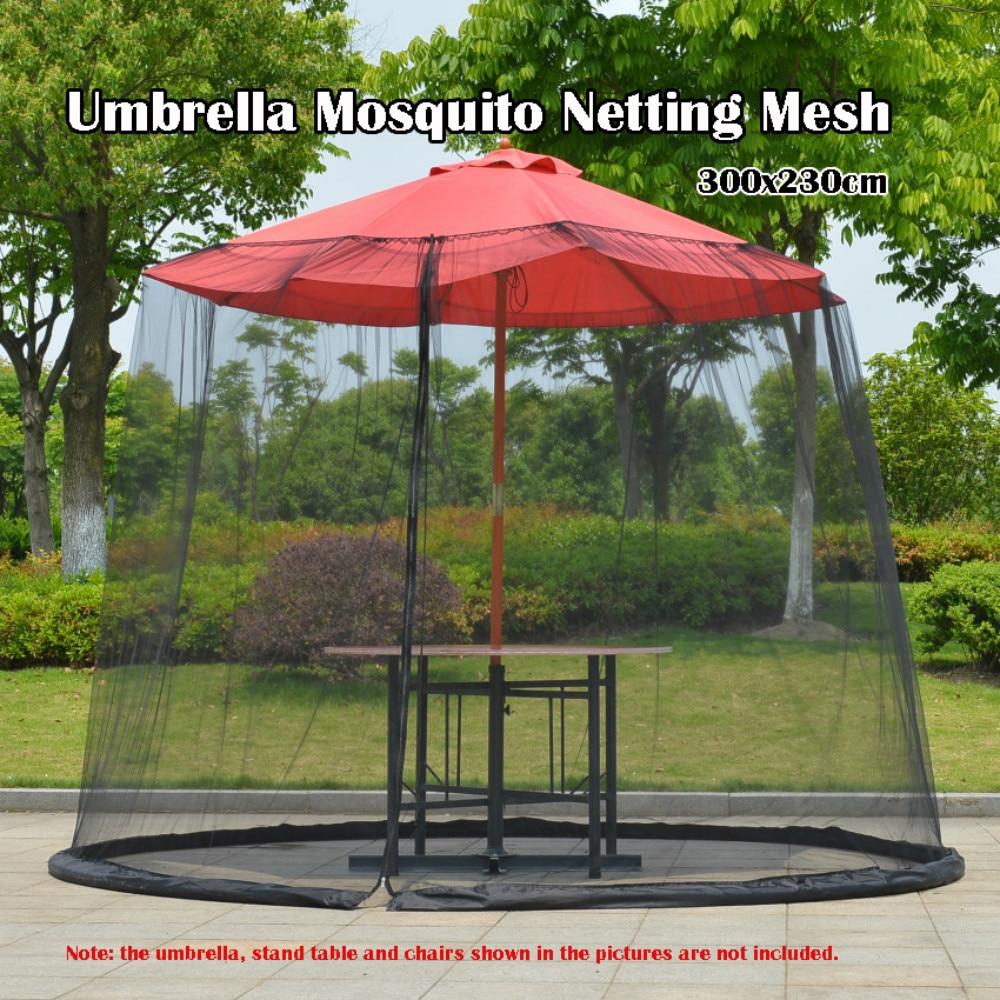 Outdoor Circular Patio Umbrella Mosquito Netting Mesh Screen With Zipper Patio Tables Picnic Net Cover