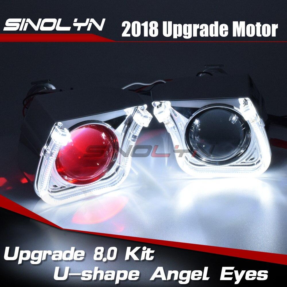 2.5 ''mise à niveau 8.0 carré U LED Angel Eyes Halo HID bi-xénon lentilles pour projecteur de voiture phare DRL H1 H4 H7 9005 9006 HB3