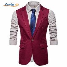 Covrlge Men Suit Vest Colete Masculino English Style Slim Fit Wedding Waistcoat Gilet Formal Sleeveless MWX027